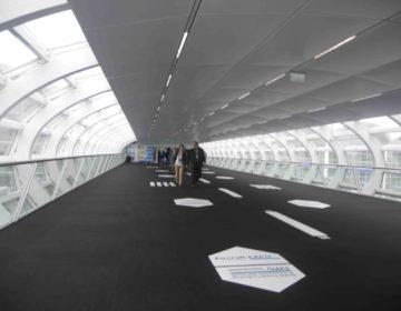 Overhead walkway into AIX